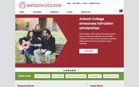 Screenshot of Home Page antiochcollege.org - Antioch College - captured Jan. 27, 2015