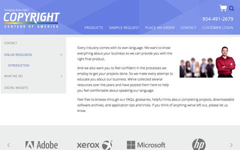 Screenshot of Support Page copyrightcenters.com - Copyright Centers : Contact  : Online Resources : Introduction - captured Nov. 12, 2016