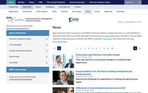 Screenshot of Press Page rsm.nl - News - About RSM - Home - Rotterdam School of Management, Erasmus University - captured Feb. 5, 2019