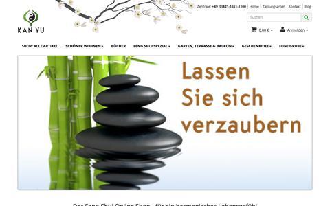 Screenshot of Home Page feng-shui-handel.com - Feng Shui Online Shop - Ihr Haus der Harmonie - KAN YU Bremen, Feng-Shui Versandhandel - captured July 2, 2017