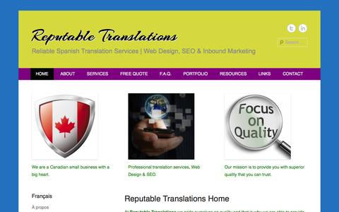 Screenshot of Home Page Menu Page reputabletranslations.com - Reputable Translations   Spanish Translation Services - captured Sept. 30, 2014
