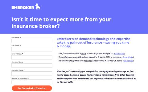 Screenshot of Landing Page embroker.com - Isn't it time to expect more from your insurance broker? - captured July 9, 2017