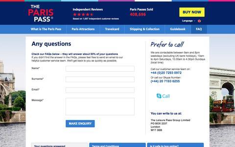 Screenshot of FAQ Page parispass.com - Paris Pass Contact Details - Paris Pass Customer Service Details - captured Aug. 30, 2016