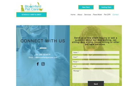 Screenshot of Contact Page bloomfieldpetcare.com - Contact | Bloomfield Pet Care - captured Nov. 6, 2018