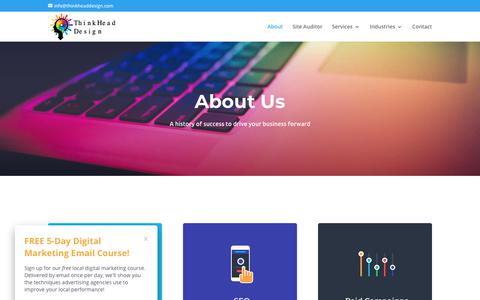 Screenshot of About Page thinkheaddesign.com - About Us | ThinkHead Design - captured Oct. 22, 2018