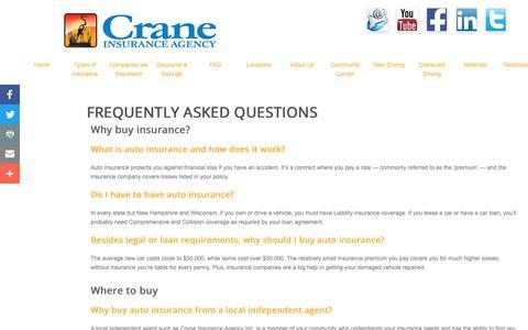 Screenshot of FAQ Page craneinsuranceagency.net - Crane insurance Agency, Inc. - FAQ Page - Northeastern Pennsylvania - captured Sept. 30, 2018