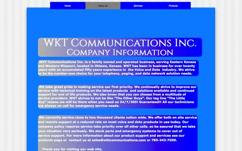 Screenshot of About Page wktcommunications.com - About Us - captured Oct. 26, 2014