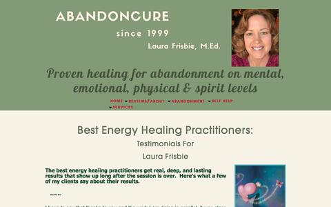 Screenshot of Testimonials Page laurafrisbie.com - Best Energy Healing Practitioners: Laura Frisbie for Relationship Self Help - captured July 8, 2018