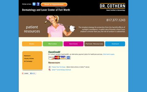 Screenshot of Press Page skinlasercare.com - Board Certified Dr. Cothern, Dermatology and Laser Center of Fort Worth, Texas : Newsroom - captured June 17, 2016