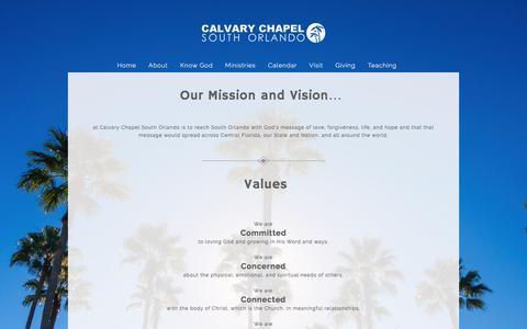 Screenshot of About Page calvaryso.com - About «  Calvary Chapel South Orlando - captured Oct. 18, 2016