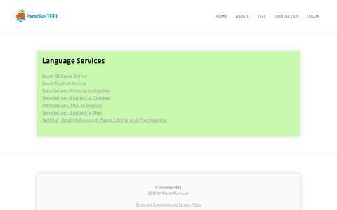 Screenshot of Services Page paradisetefl.com - Services - Paradise TEFL - captured Sept. 23, 2018