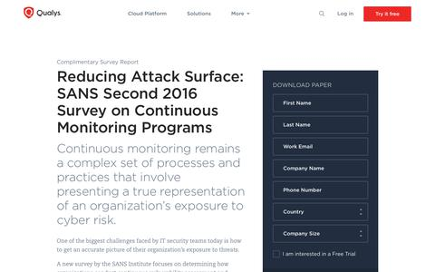 Reducing Attack Surface: SANS Second 2016 Survey on Continuous Monitoring Programs | Qualys, Inc.