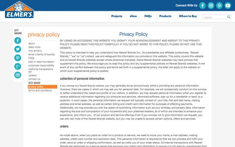 Screenshot of Privacy Page elmers.com - Privacy Policy - captured Sept. 1, 2017