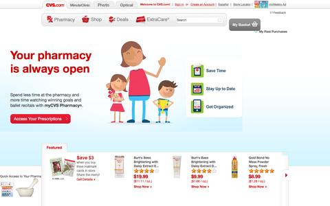 Screenshot of Home Page cvs.com - CVS pharmacy - Online Pharmacy - Shop for Wellness and Beauty Products - captured Dec. 3, 2015