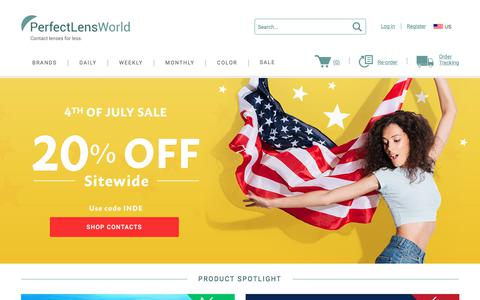 Screenshot of Home Page perfectlensworld.com - Cheap Contact Lenses - Fast Shipping - PerfectLensWorld - captured July 8, 2018