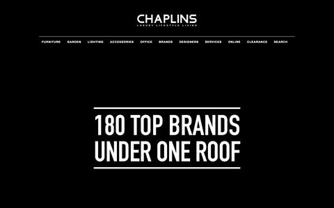 Screenshot of Home Page chaplins.co.uk - CHAPLINS - THE LARGEST INDEPENDENT MODERN DESIGNER FURNITURE & CONTEMPORARY LIVING SHOWROOM IN EUROPE - captured Jan. 15, 2016