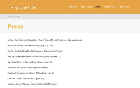 Screenshot of Press Page flyhopscotch.com - Press | Hopscotch Air - captured Jan. 31, 2016