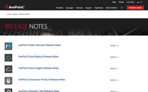 Screenshot of Support Page avepoint.com - AvePoint Technischer Support | Release Notes - captured Sept. 2, 2017