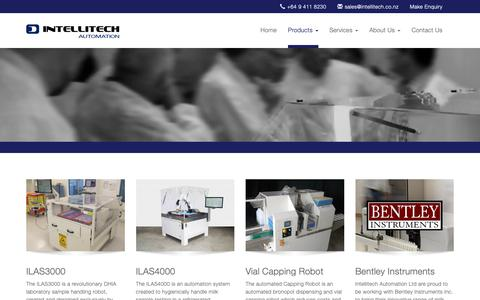 Screenshot of Products Page intellitech.co.nz - Intellitech Automation | Products - captured Oct. 12, 2018