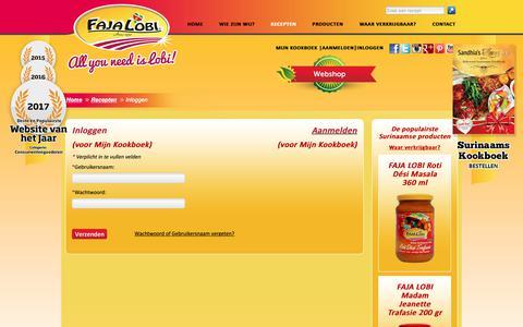 Screenshot of Login Page surinaamseten.nl - Surinaams eten – Inloggen - captured Sept. 26, 2018