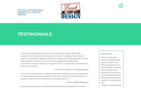 Screenshot of Testimonials Page fresheyesdesign.org - Testimonials   Affordable Web Design   Fresh Eyes Design - captured Aug. 29, 2018