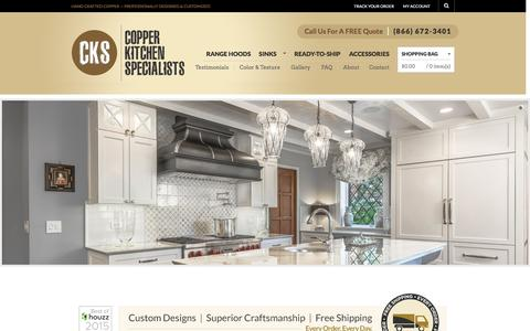 Screenshot of Home Page copperhoods.com - Copper Kitchen Range Hoods - Vent Hoods | Copper Kitchen Specialists - captured Jan. 31, 2016