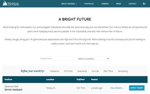 Screenshot of Jobs Page mainsailhotels.com - Job Postings | Mainsail Lodging & Development - captured Nov. 19, 2016