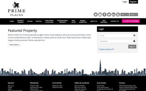 Screenshot of Login Page primeplaces.com - Login - captured Nov. 11, 2016