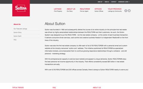 Screenshot of About Page sutton.com - About Sutton: Company Information & History | Sutton - captured Sept. 18, 2014
