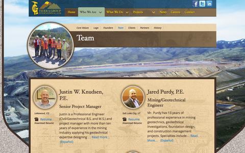 Screenshot of Team Page tierragroupinternational.com - Team - captured Oct. 7, 2014