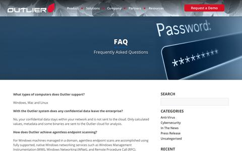 Screenshot of FAQ Page outliersecurity.com - FAQ - Outlier Security - captured Nov. 12, 2017