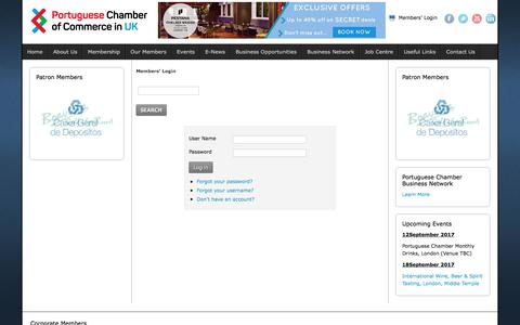 Screenshot of Login Page portuguese-chamber.org.uk - Members' Login -  Portuguese Chamber Of Commerce - captured Aug. 15, 2017