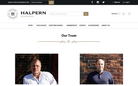 Screenshot of Team Page halpernwine.com - Our Team - captured Sept. 26, 2018