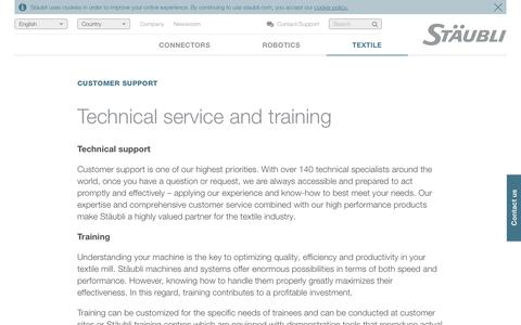 Technical service and training - Stäubli excellence in customer support