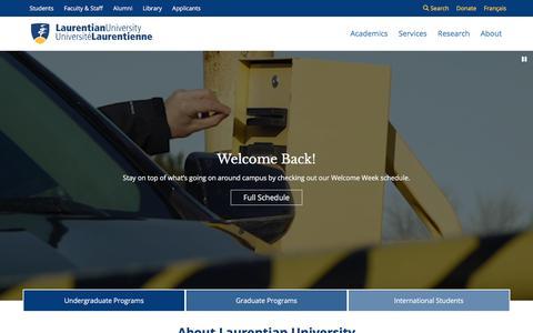 Screenshot of Home Page laurentian.ca - Laurentian University | Welcome Back! - captured Sept. 23, 2018