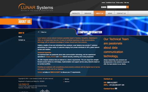Screenshot of About Page lunarsystems.com - About Lunar Network Solutions – Cisco Juniper Force10 network hardware - captured Oct. 3, 2014