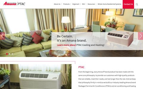 Screenshot of Home Page amana-ptac.com - Amana-PTAC Heating and Air Conditioning Solutions - captured May 27, 2016