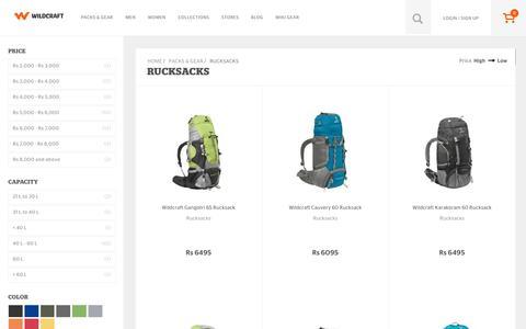 Screenshot of wildcraft.in - Buy Wildcraft Rucksacks Bags Online for Hiking and Trekking - captured March 19, 2016