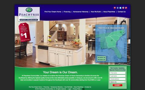 Screenshot of Home Page peachtreecommunities.com - New Homes for Sale in Atlanta, GA, Raleigh, NC - Peachtree Communities - captured Sept. 18, 2014