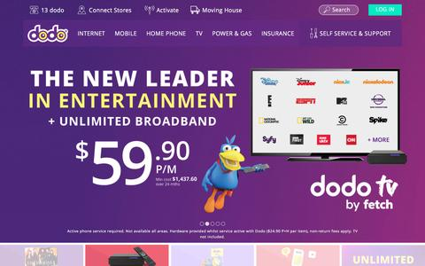 Screenshot of Home Page dodo.com - NBN Plans, Mobile Phone, Energy, Broadband Internet Deals - Dodo - captured Nov. 23, 2016