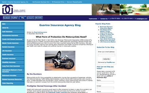 Screenshot of Blog djgins.com - Guarino Insurance Agency - Guarino Insurance Agency Blog - captured Oct. 5, 2014