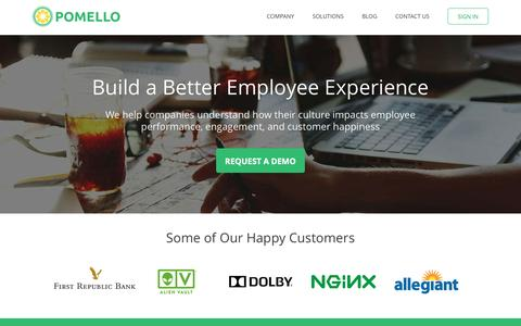 Screenshot of Home Page pomello.com - Company Culture Survey & Analytics | Pomello - captured May 1, 2016