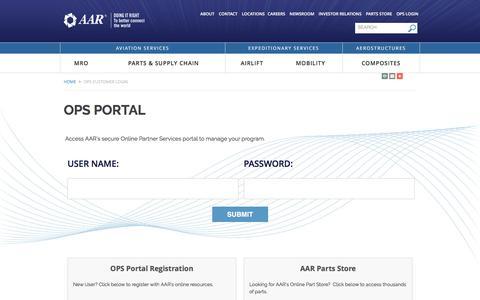 Screenshot of Login Page aarcorp.com - OPS Portal   AAR Corporate - captured Feb. 4, 2017