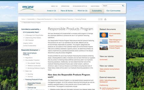 Screenshot of Products Page encana.com - Responsible Products Program | Encana Corporation - captured Nov. 18, 2015