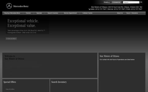 Screenshot of Home Page mercedesbenzottawa.com - STAR MOTOS OF OTTAWA - captured Oct. 6, 2014