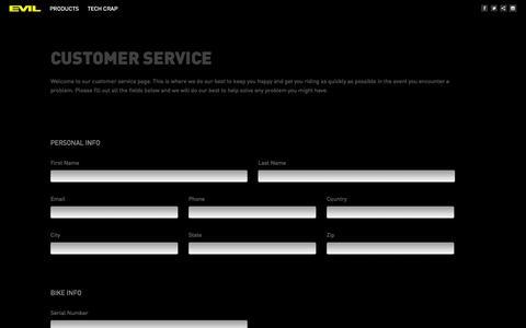 Screenshot of Support Page evil-bikes.com - Customer Service | Evil  Bikes - captured Sept. 30, 2014