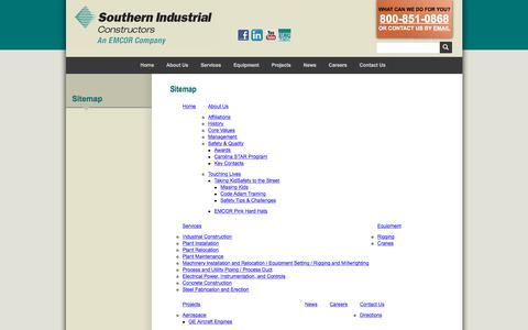 Screenshot of Site Map Page southernindustrial.com - Southern Industrial Constructors :: Sitemap - captured Oct. 23, 2017