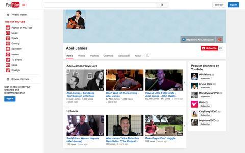 Screenshot of YouTube Page youtube.com - Abel James  - YouTube - captured Oct. 23, 2014