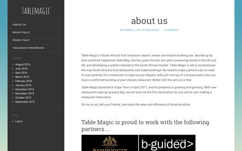 Screenshot of About Page tablemagic.co.za - about us | tablemagic - captured Aug. 15, 2016