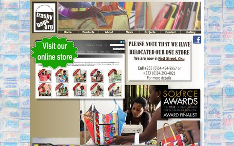 Screenshot of Home Page trashybags.org - Trashy Bags: Eco-friendly recycled plastic bags and gifts, made in Africa. - captured Sept. 30, 2015